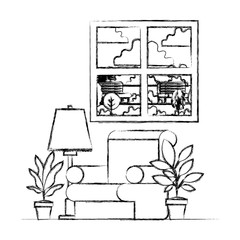 living room with houseplants and window vector illustration design