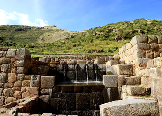 The remains of Inca's fountain at Tipon in the Sacred Valley, Cuzco region of Peru