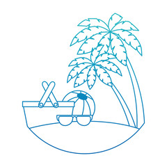 sunglasses summer with balloon and basket in the beach vector illustration