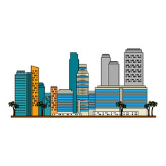 cityscape buildings with palms scene vector illustration design