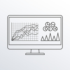 Computer monitor line icon with graph, diagram and charts. PC desktop display outline sketch. Vector illustration.