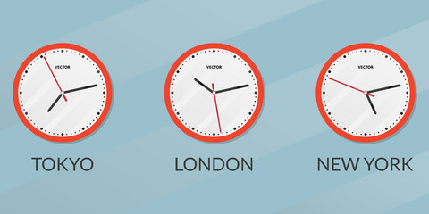 Wall clock set with different time zones. London, New York, Tokyo time difference. Vector illustration.