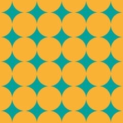Dotted seamless pattern. Yellow dots on blue-green background. Fabric, wrapping print. Vector illustration