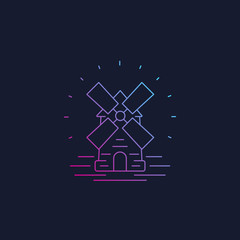 Mill, windmill line vector icon