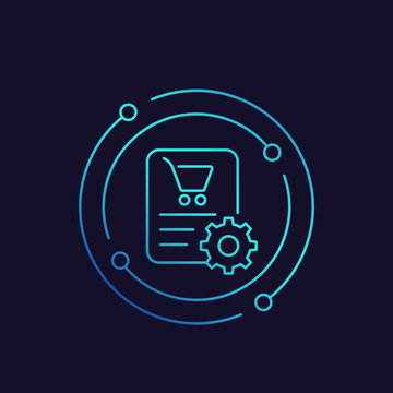 order processing icon, linear vector