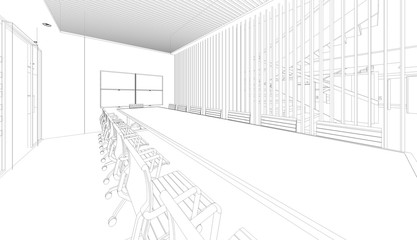 outline sketch drawing perspective of an interior space