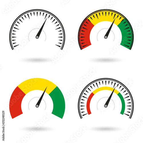 speedometer icon set gauge and rpm meter logo vector illustration