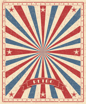 Grunge circus vintage  background. Vertical retro poster with red and blue rays