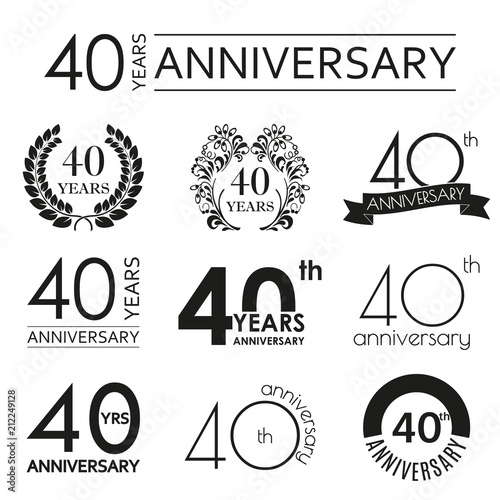 40 Years Anniversary Icon Set 40th Celebration Logo Design Elements For Birthday