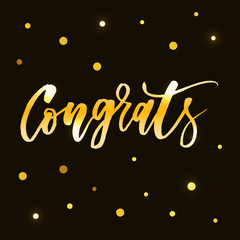 Congrats Vector Phrase Lettering Calligraphy Brush Gold