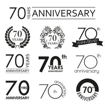 70 years anniversary icon set. 70th anniversary celebration logo. Design elements for birthday, invitation, wedding jubilee. Vector illustration.