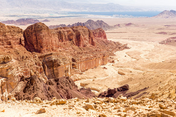 Fototapete - Desert mountain range cliffs landscape view, Israel nature.