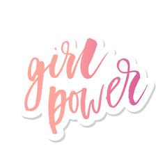 Girl POwer Phrase Lettering Calligraphy Vector Sticker