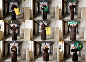 A combination picture shows monks of Franciscan Order, posing for a photo before the quarter-final match between Brazil and Belgium at Franciscan monastery in downtown of Sao Paulo
