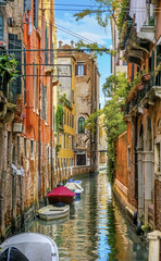 Boats Colorful Small Side Canal Venice Italy