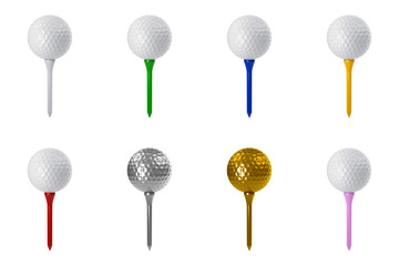 3D rendering set of golf ball on tee isolated on white