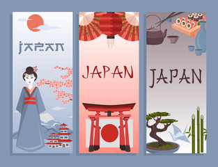 I love Japan poster. Traditional Japanese symbols vector illustration. Vertical composition banners. Colorful icons of Japan culture. Geisha, Torii, Japanese temple etc.