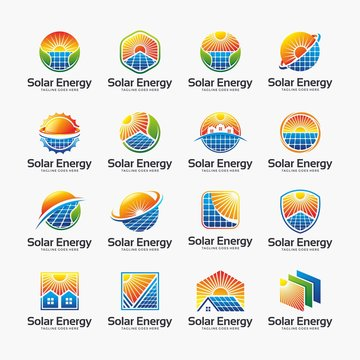 Solar energy, solar panel, sun logo design