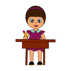 Girl learn on the table cartoon illustration isolated on white background for children color book