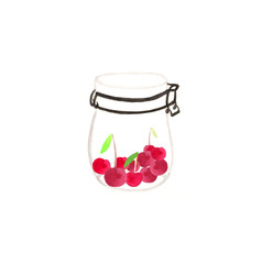 Cherries in a jar.