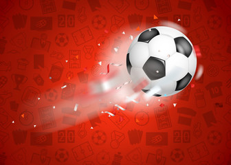 Classic soccer ball flying to the net. Goal concept