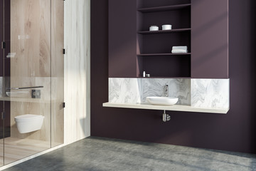 Marble and brown bathroom corner, sink and shower
