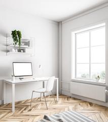 Simple white home office corner, white screen
