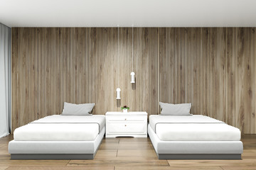 Wood wall hotel suite interior, two beds