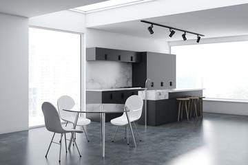 Gray loft kitchen and dining room corner