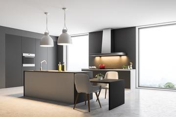 Dark gray loft kitchen interior