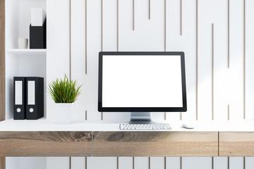 Mock up desktop computer screen, wooden desk