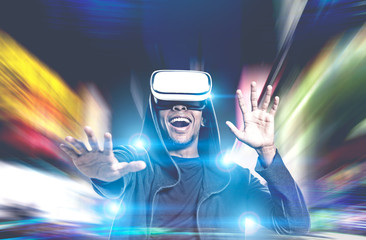 Happy African American guy in VR glasses