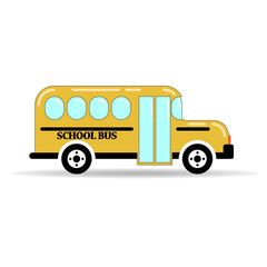 yellow school bus on white background. simple vector illustration
