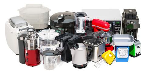 """Set of small kitchen home appliances. Toaster, kettle, food steamer, mixer, blender, """"yogurt maker"""", multicooker, juicer, grinder, bread machine, 3D rendering"""