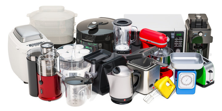 "Set of small kitchen home appliances. Toaster, kettle, food steamer, mixer, blender, ""yogurt maker"", multicooker, juicer, grinder, bread machine, 3D rendering"