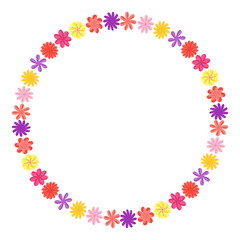 Wreath of wild flowers with leaves. A floral round frame with a place for your text. Suitable for greeting cards, wedding invitations, promotional leaflets