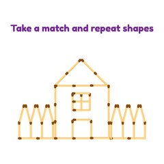 Vector illustration. Game for preschool children. Take the matches and repeat the picture. house with window, roof and fence