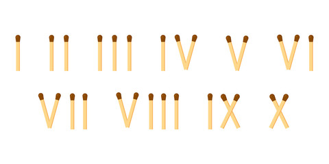 vector illustration. matches. roman numerals. mathematics