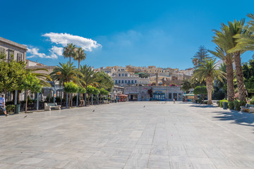 Central square or Miaoulis square of Ermoupolis city in Syros island, Cyclades, Greece
