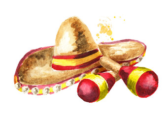 Cinco de Mayo hat Sombrero and Mexican maracas composition. Hand drawn watercolor illustration, isolated on white background