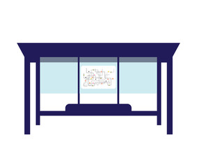 Bus stop isolated. bus station Vector illustration