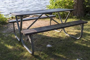 Picnic Table In The Park Near The Water
