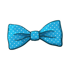 Illustration of blue bow tie with print a polka dots