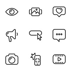 Set of black vector icons, isolated on white background, on theme Modern Internet communication between users
