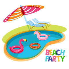 Swimming pool with float rings flamingo, unicorn, watermelon. Vector hand drawn doodle illustration. Multicolor inflatable kids toys. Trendy design concept for summer poster or banner.