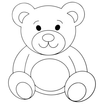 Teddy bear cartoon illustration isolated on white background for children color book