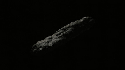 Oumuamua Comet in space isolated over stars, cigar shaped astroid/ comet