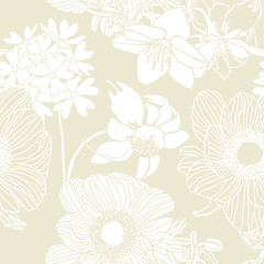 Floral seamless pattern. Flowers illustration