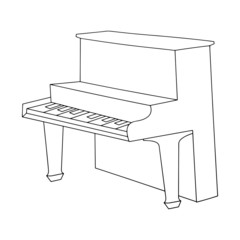 Piano cartoon illustration isolated on white background for children color book