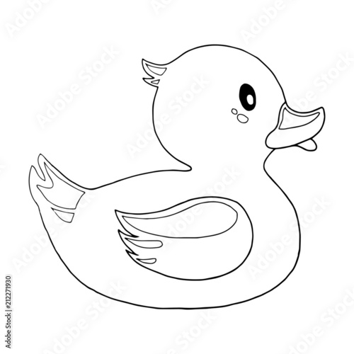Rubber Duck Cartoon Illustration Isolated On White Background For